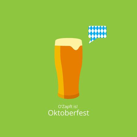 chope biere: Affiche Oktoberfest. Bi�re � bulle et fond bleu Oktoberfest Illustration