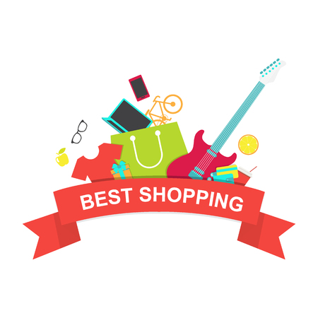 emblem red: Best shopping emblem. Red ribbon with shopping bag and other products Illustration