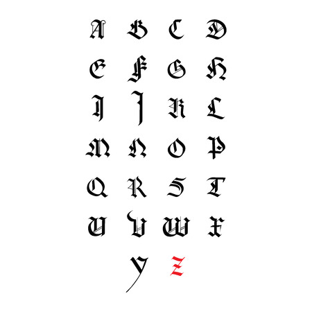 Vector alphabet. Hand drawn medieval letters. Medieval calligraphy Vectores