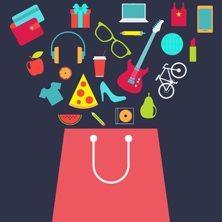 Shopping bag with other purchase. Flat design vector background. Vettoriali