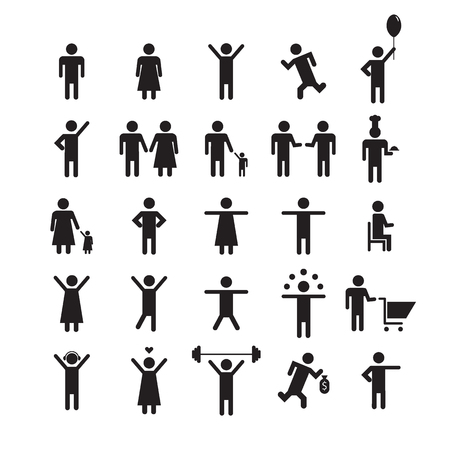 shopping people: people icon set. People signs in different poses