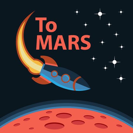 interplanetary: Creative design concept space mission. Mars exploration mission. Vector poster with spaceship and Mars surface. Journey to Mars