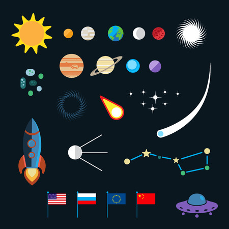 science symbols: Space icon set. Planets, stars, spaceships, ufo, satellite, asteroids, meteorites and others.