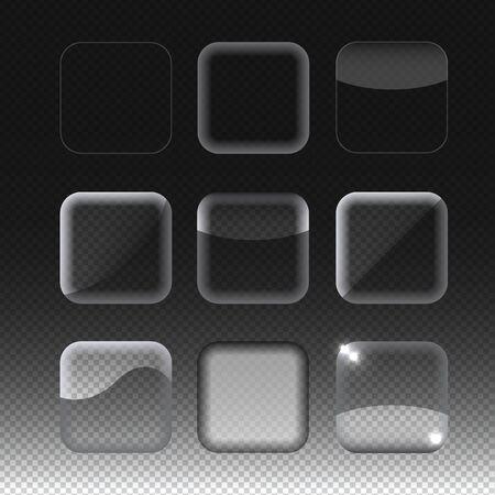 glass buttons: Set of nine transparent glass buttons. Vector illustration