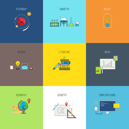 chemistry: Other subjects for study. Flat line vector icons set