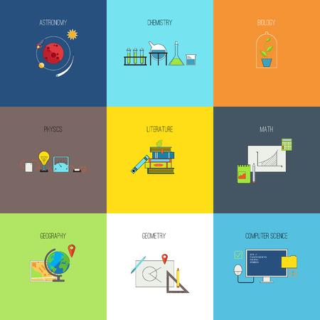 simbolos matematicos: Otros temas de estudio. Iconos del vector de l�nea plana establecen Vectores