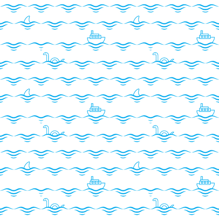 Blue waves, ships, sharks and monsters. Abstract seamless pattern vector illustration Vettoriali