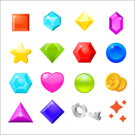 gold key: Set of cartoon icons for web interface and computer games. Gemstones, coin, star, heart, key isolated on white background. Vector illustration