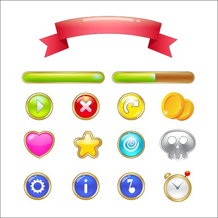 Set of buttons, progress bars, ribbon and icons for web design and game user interface isolated on white background. illustration Vettoriali