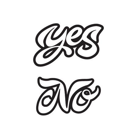 Yes and no handwritten calligraphy. Vector lettering. Illustration isolated on white background. Calligraphy logo. File contains Ai and PDF formats.