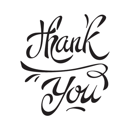 Thank you handwritten calligraphy. Vector lettering. illustration isolated on white background