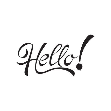 Hello hand lettering, vector illustration, hello massage, hello text, hello calligraphy