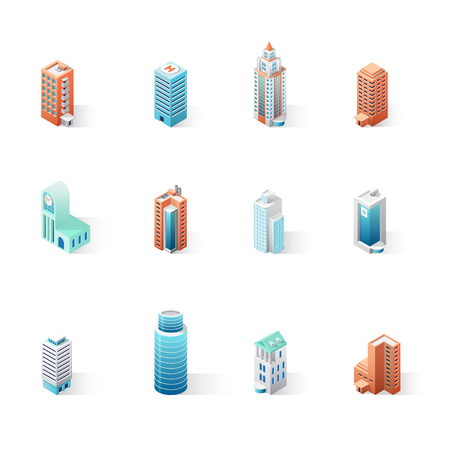 Set of the isometric city buildings. 3D vector illustration isolated on white background for maps, business or web projects. Vettoriali
