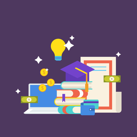 Scholarship concept. illustration in flat style design. University student cap, books, diploma, notebook, money, wallet, credit card and light bulb. Vettoriali