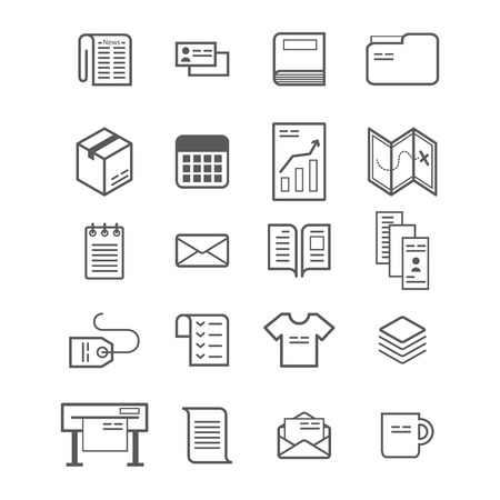 Polygraphy production icon set. Printing products. Print icons. illustration isolated on white Vettoriali