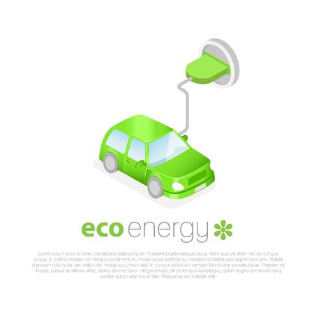 Coche eléctrico de carga. Icono de Eco concepto de energía. coche verde con enchufe en la toma. 3D isométrico ecológico.