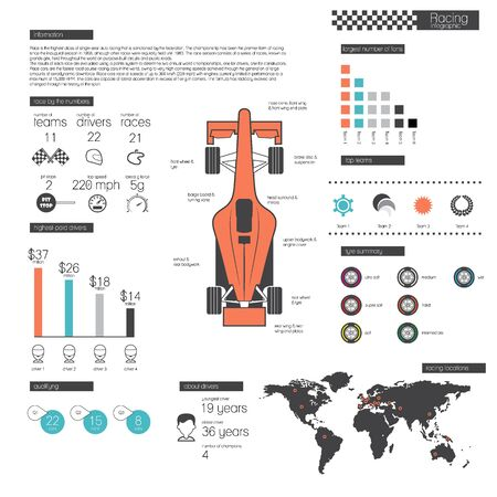 bolide: Racing infographic design elements. illustration with graphics, diagrams, map and others. Illustration