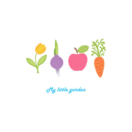 The tulip, onions, apple and carrot are built in a row. My little garden. Cute cartoon set of flower, vegetable and fruit.