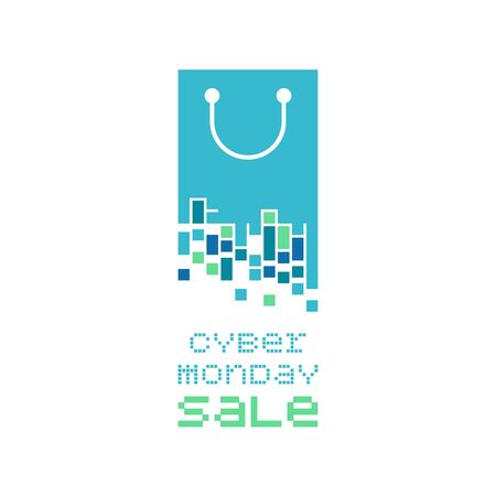 Cyber Monday concept. Shopping bag with pixels symbol.