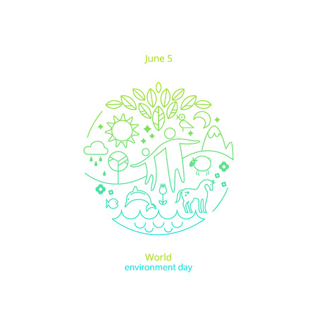 World environment day 5 June concept. Different symbols of environment. Man and child run hand in hand. The concept of ecology, environmental protection