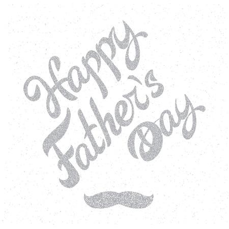 Happy Fathers Day. Grange retro background poster with inscription and mustache. Vettoriali