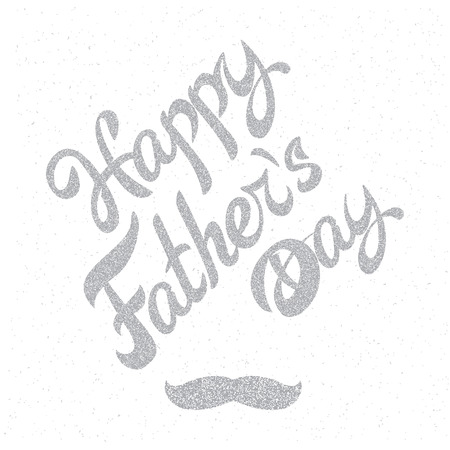 grange: Happy Fathers Day. Grange retro background poster with inscription and mustache. Illustration