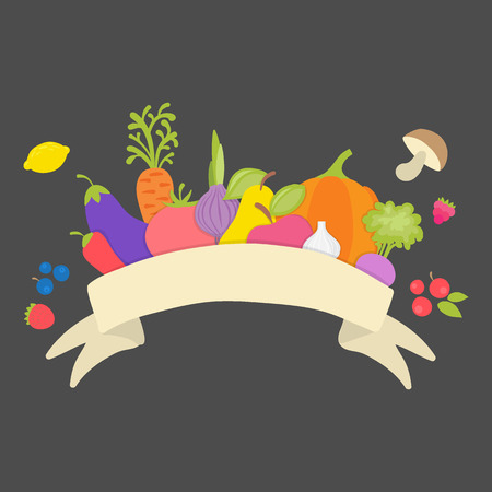 A lot of different vegetables, fruits, berries and mushrooms and with ribbon for you text.