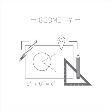 Geometry icon. Drawing and devices for drawing. Flat design minimalistic illustration isolated on white background.