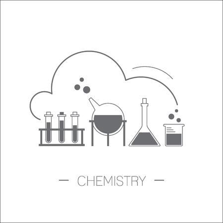 Chemistry icon. Flasks, test tubes. Flat design minimalistic illustration isolated on white background. Vettoriali