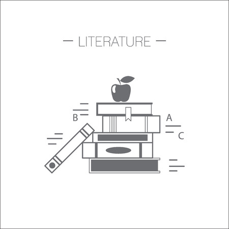 Literature icon. Stack of books with apple. Flat design minimalistic vector illustration isolated on white background. Vettoriali