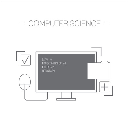 Computer science icon. Monitor, computer mouse, folder. Flat design minimalistic vector illustration isolated on white background.