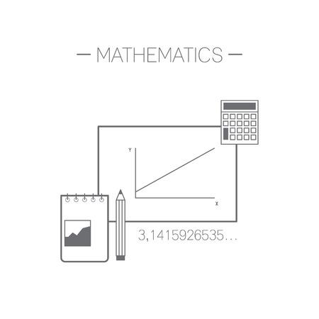 Mathematics icon. Flat design minimalistic vector illustration isolated on white background.