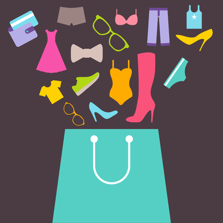 Shopping bag with purchase. Purchase of clothes and footwear. Flat design vector Vettoriali