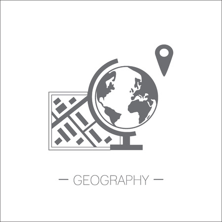 Geography icon. Map, globe, gps pin. Flat design minimalistic vector illustration isolated on white background. Vettoriali