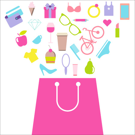 consumer: Shopping for women, female purchases. Bag with consumer goods. Flat design vector illustration isolated on white background.