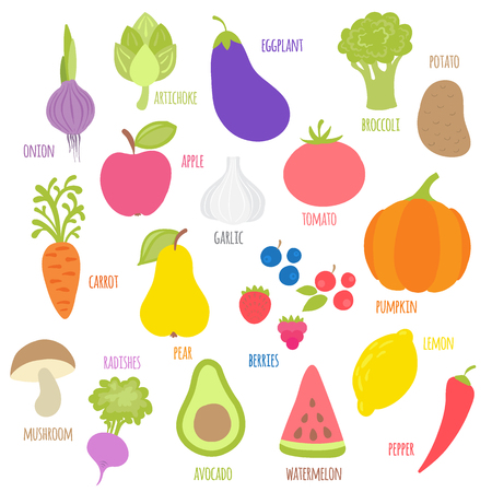 Set of fruits, vegetables, berries with signatures. Vegetable food. Cartoon vector illustration isolated on white background. Flat style. Vettoriali