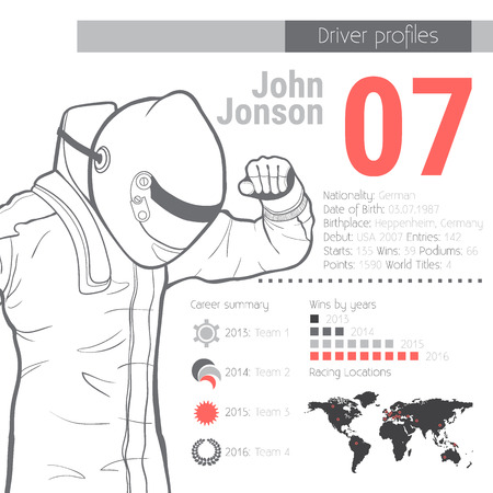 Driver profiles. Racing infographic. Name, racing number, biography, career summary, map, graphics.Vector illustration