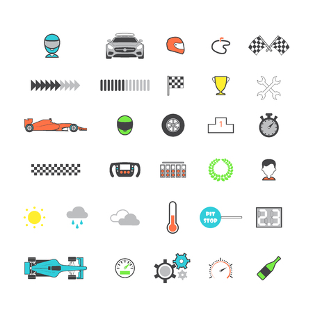 Racing colored icon set. Motorsport icons. Vector illustration Vettoriali