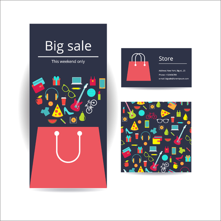 Business brochure flyer banner, business card and card with seamless pattern. Vector template design. Shopping bag with purchase. A lot of things pattern square card. Business card with shopping bag