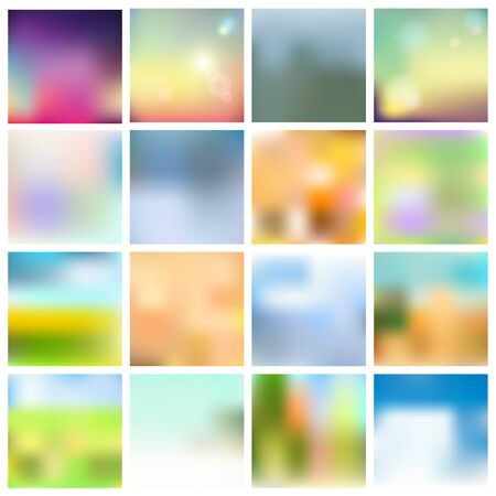 Set of blurred backgrounds. Abstract vector illustration