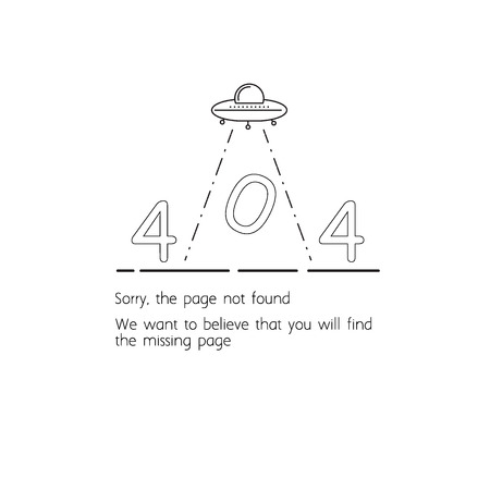 Error 404 website template. Sorry the page not found. UFO abducts the inscription