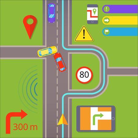 Car navigation. GPS navigation concept Vettoriali