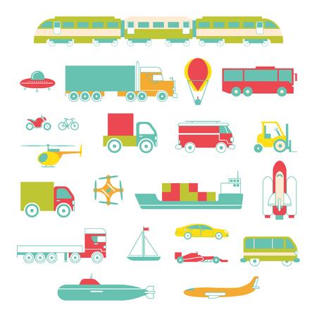 Transport colored icon set Vettoriali
