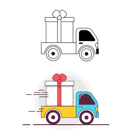 Truck carries a gift box. Lineart icon and colored icon Vettoriali