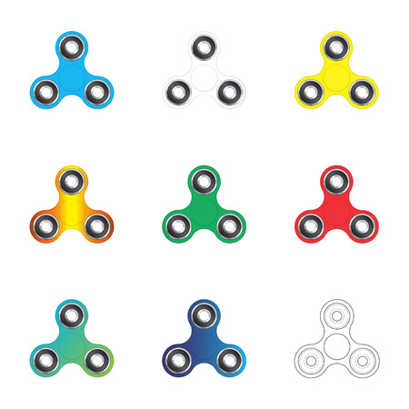Hand fidget spinners set. Colorful hand spinner toys isolated on