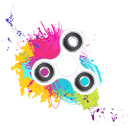 White fidget spinner with colorful splashes isolated on white ba