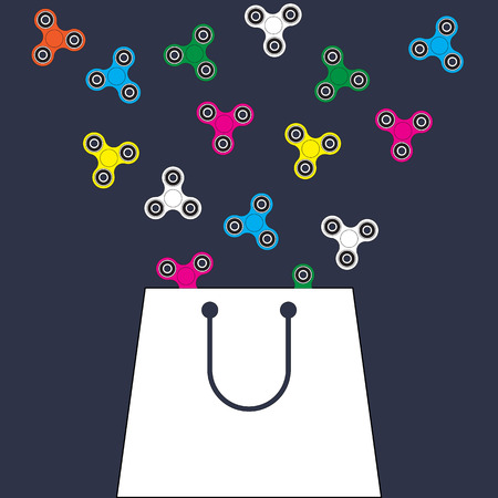Shopping bag with fidget spinners. Flat design vector background