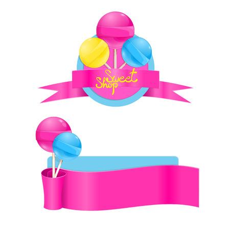 Vector template set with sweet lollipops. Sweet shop lollipop la Vettoriali