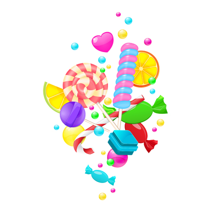 Candy background set isolated on white background. Sweet set wit Vettoriali