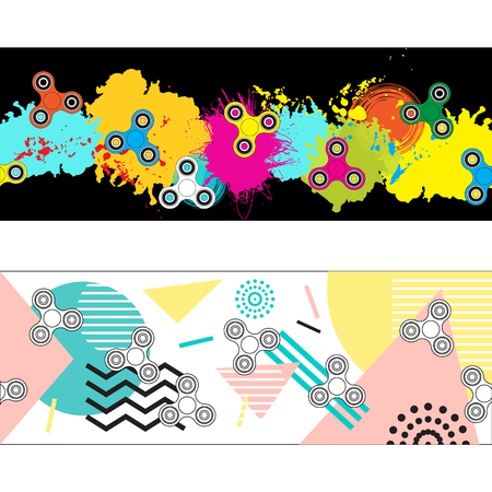 website header: Two abstract headers with fidget spinners for you website design